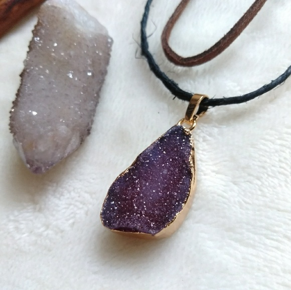 Amethyst Druzy Gemstone Pendant Leather Artisan Choker Necklace